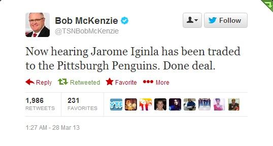 Bob McKenzie's Tweet
