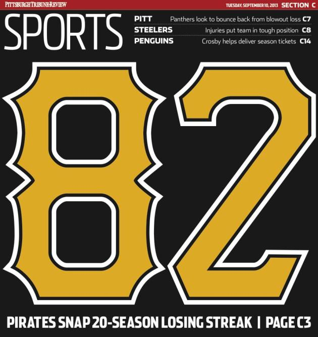 The front cover of the sports section of the Pittsburgh Tribune-Review